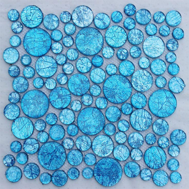 Círculo azul de cristal del azulejo del mosaico puzzles/rompecabezas cuarto de baño de la pared pegatinas