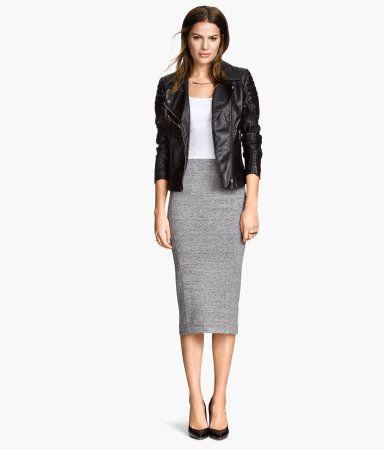 Simple work outfit that can be jazzed up with  statement necklace, earrings and brackets for evening glam.  Black Blazer, Long Gray Skirt, White Shell.  H&M US