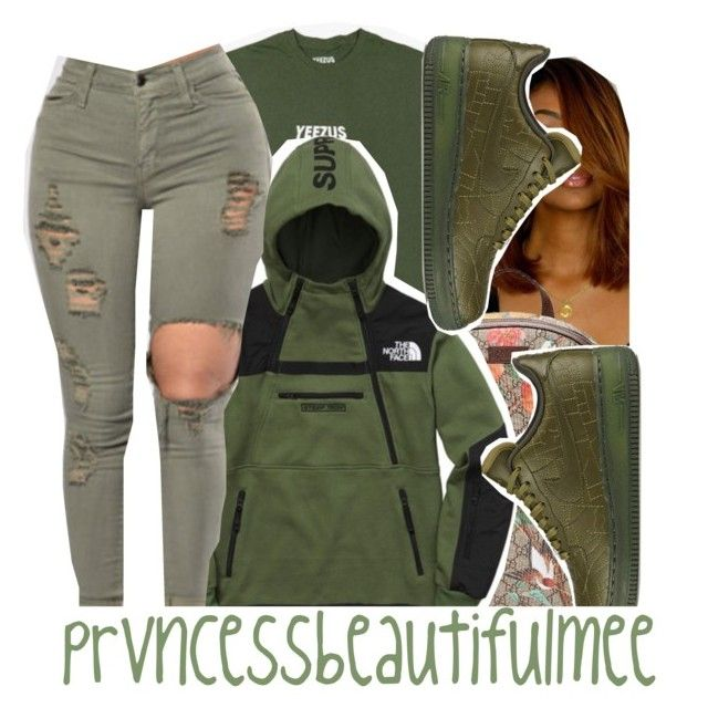 """""""green contest entry ."""" by prvncessbeautifulmee ❤ liked on Polyvore featuring Gucci, The North Face and NIKE"""