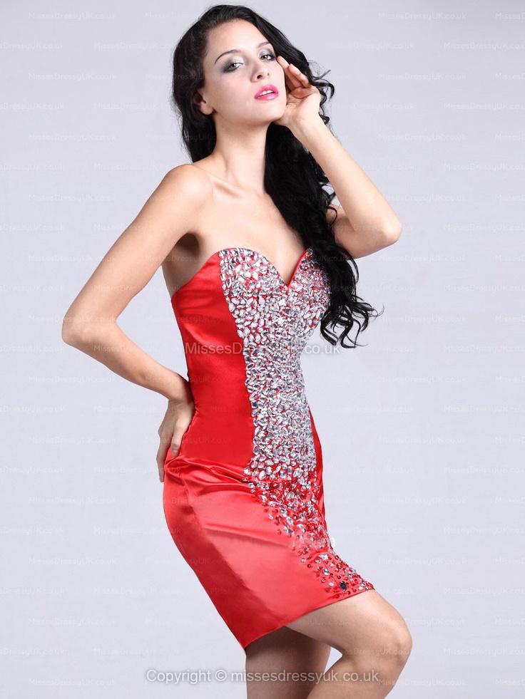 Sheath/Column Sweetheart Elastic Woven Satin Short/Mini Red Rhinestone Homecoming Dress
