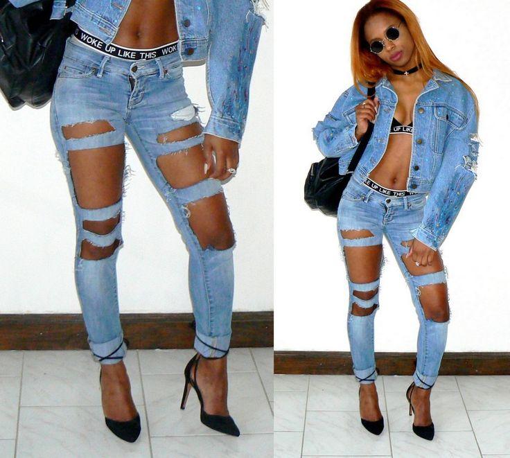 jean destroy bleu clair, jean déchiré tendance, jean swag troué, jean troué original, jean customisé, jeans diy, customisation, denim, jean troué, par cleo-n-mama-creation