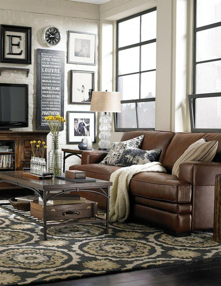 Brown And Black Living Room Designs: Love This Room. Brown Leather, Rustic Wood, Black And