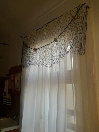 Curtains With Fish Net Draping Nautical Bathroom Beach