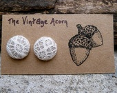 Lace Fabric Button Earrings