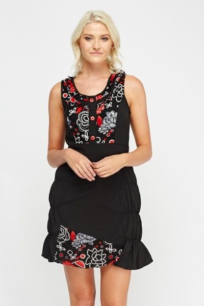 Ruched Side Printed Sleeveless Dress