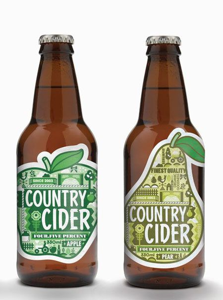 Smart packaging showing the flavour of the cider with the shape of the fruit.  http://www.designer-daily.com/country-cider-packaging-6371