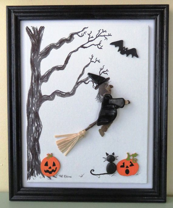 HALLOWEEN PEBBLE ART Witch Black Cat by LakeshorePebbleArt on Etsy