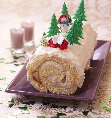 Bûche de Noël poire et caramel au beurre salé - les meilleures recettes de cuisine d'Ôdélices