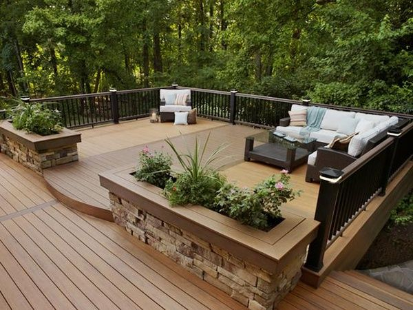 Beautiful Deck Designs: Built In Flower Boxes With Stone Base To Match The Stone On  The