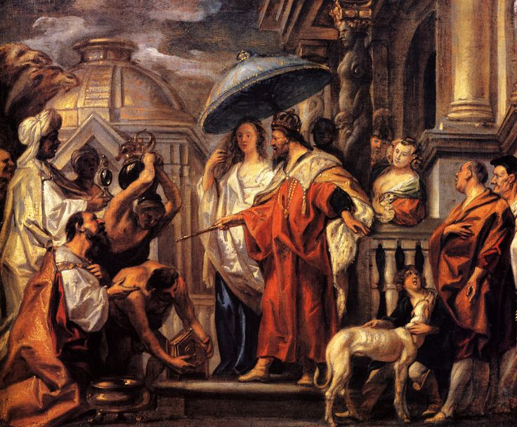 The tribute the Caliph Harun al-Rashid to Charlemagne, 1663 - Jacob Jordaens Berlin art history museum