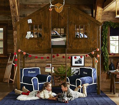i absolutely love this idea for my little man....he would love having a tree house inspired nook for himself or a friend staying over.