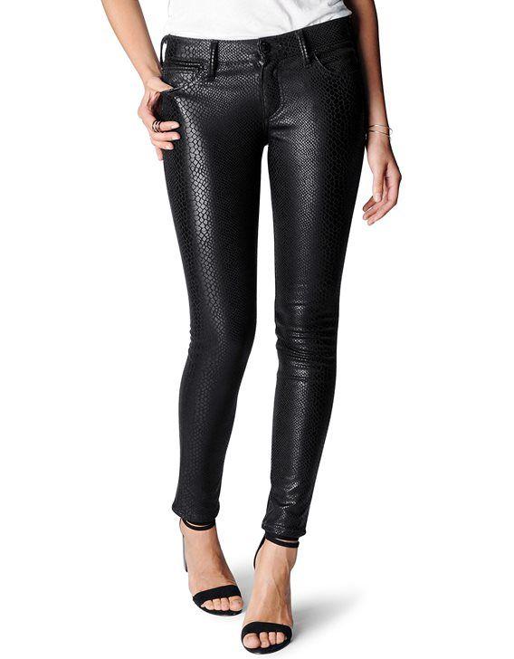 True Religion, CASEY BLACK PYTHON PONTE WOMENS LEGGING, black, Womens : Pants, W3MA942LM11001