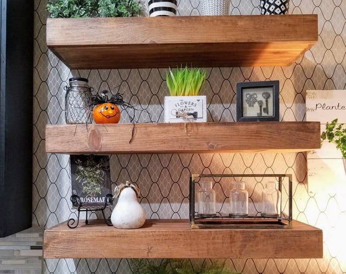 Free Shipping Wood Floating Shelves 10 Inch Deep Rustic Etsy Floating Shelves Wood Shelves Reclaimed Wood Shelves