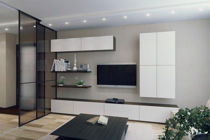 белая стенка в интерьере гостиной