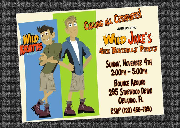 Custom Wild Kratts Birthday Party Invitations - Free Thank You Card - DIY Printable File. $8.00, via Etsy.