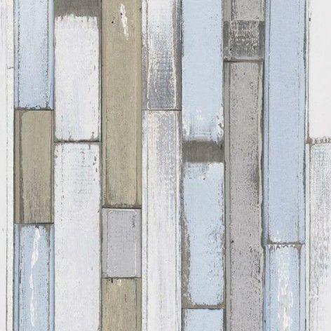 Natural wood paneling in a hand painted effect. Shown in pale brown, white and gray. http://www.wowwallpaperhanging.com.au/wood-wallpaper-sophie-and-dales-scrapwood-wallpaper-from-the-block/