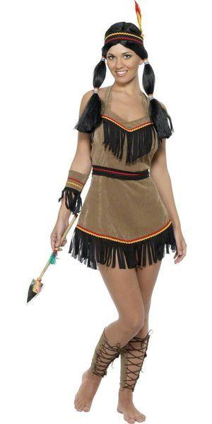 Intiaanityttö. Tässäpä kaunis, perinteinen ja paljon oheistuotteita sisältävä naamiaisasu!  Sisältää: - Mekon - Vyön - Hiusnauhan - Rannekkeen - Säärystimet