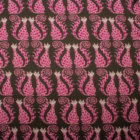 Brown/Pink Cat Print Pure Silk Satin