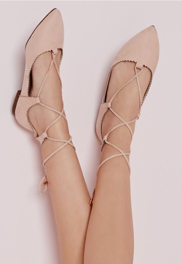 Scallop Edge Lace Up Flats Blush - Shoes - Flat Shoes - Missguided