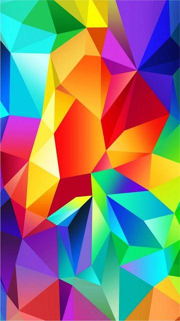 colorful polygon blocks pattern mobile wallpaper