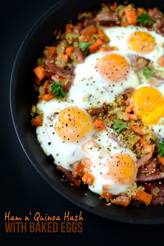 Ham n' Quinoa Hash with Baked Eggs - for low FODMAP skip onions or use sprig onions, take it easy with the avocado.