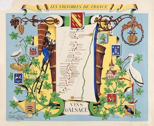 Vins D'Alsace retro 1950s French wine poster