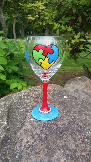 Autism Awareness Hand painted wine glass