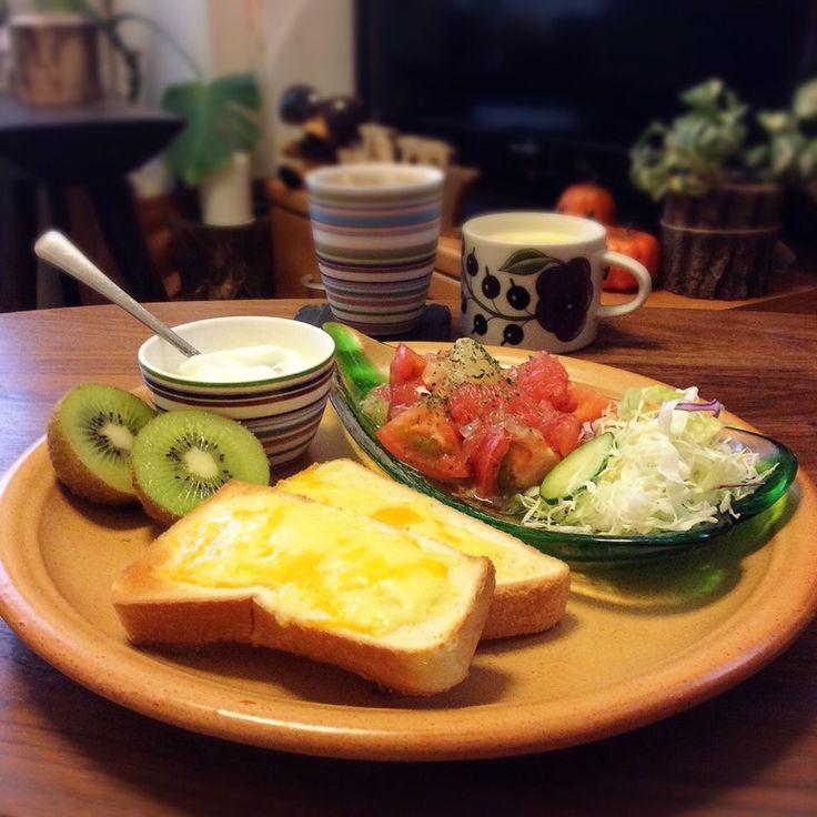 キラ姫's dish photo トマトと2色グレープフルーツのマリネでワンプレート 2016 10 10 | http://snapdish.co #SnapDish #お刺身/マリネ #トースト #ヨーグルト #チーズ #フルーツ