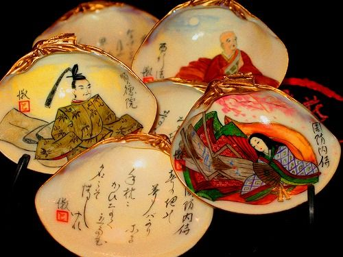Painted clam shell of 貝あわせ (Kai-awase) - traditional Japanese matching game.