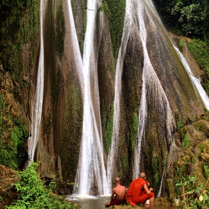 Monks at the waterfall, Hsipaw, Myanmar