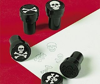 24 Skull & Crossbones Self Inking Stampers Pirate Party Supplies, Party Bag Fillers,  kids party supplies, childrens partyware, birthday party supplies, childrens party shop, kids party tableware