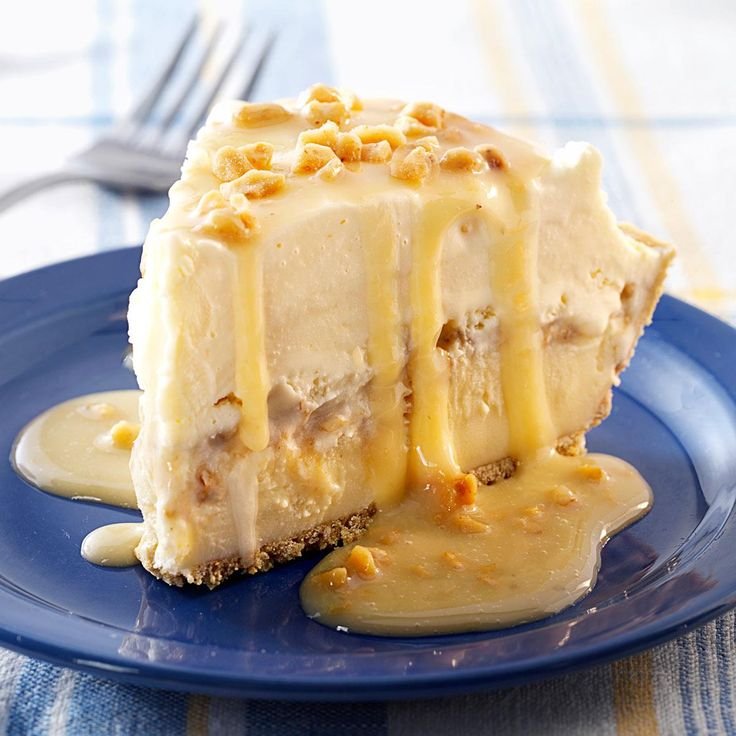 "Butter Brickle Ice Cream Pie Recipe -""This is my husband's absolute favorite summertime dessert. I often serve it to company in warm-weather months. Everyone loves the rich butter-pecan flavor."" —Brenda Jackson, Garden City, Kansas"