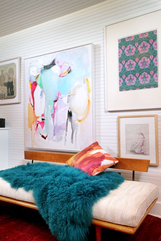 Leila & Buff's Beautiful Beach Abode House Tour ... bold pops of color: Abod Houses, Fur Throw, Buff Beautiful, Abstract Art, Beaches Houses, Beautiful Beaches, Houses Tours, Art Wall, Beaches Abod