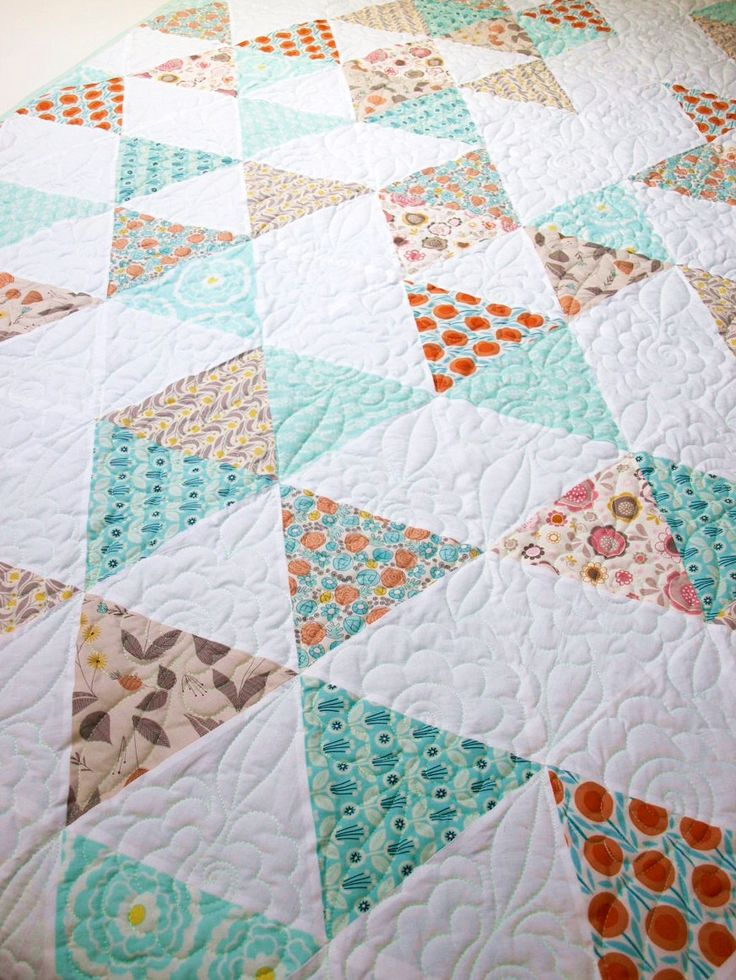 twin size quilt, triangle quilt, modern quilt, quilted bedding, girl quilt, patchwork quilt, homemade quilt, teal and salmon bedding by LoveColorsByJulianna on Etsy