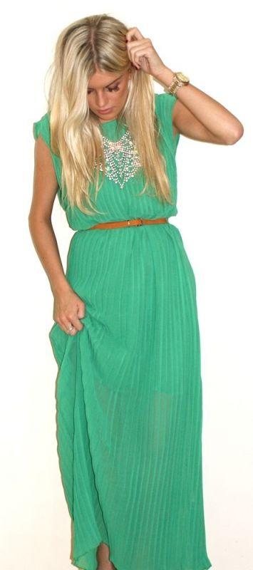 .: Maxi Dresses, Fashion, Style, Color, Maxidress, Green Maxi, Green Dress