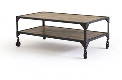Bombay sofabord bord sofa table brown rustik rustic metal shelf wheel swedish design rge www.helsetmobler.no
