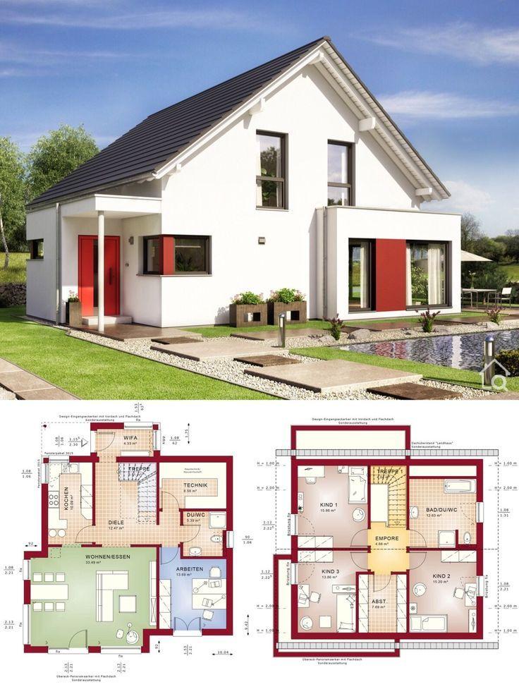 Fertighaus modern mit Satteldach Architektur & Erker Anbau