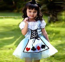 2015 хэллоуин детские платья покер карты костюм ну вечеринку платье девочка платье принцессы(China (Mainland))