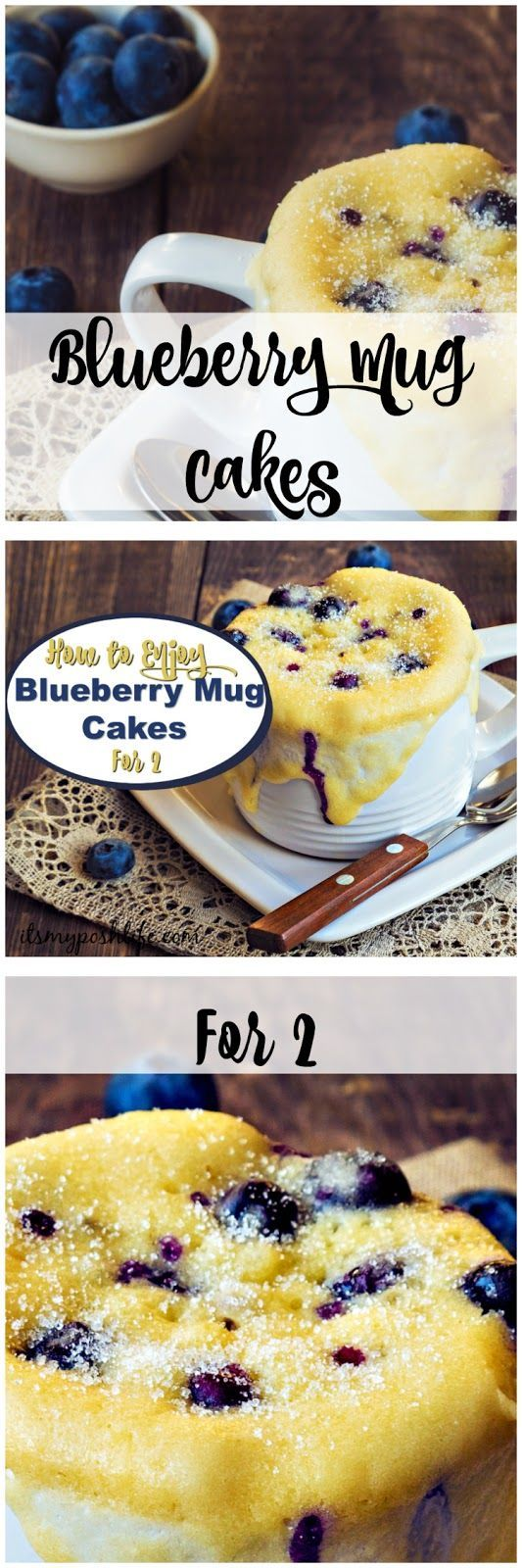 Blueberry Mug Cakes for 2-such an easy and delicious recipe! How to Enjoy Blueberry Mug Cakes for 2 http://poshonabudget.com/2017/01/how-to-enjoy-blueberry-mug-cakes-for-2.html via @poshonabudget