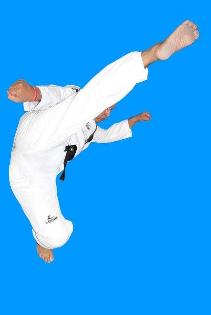 Indian karate jump kick