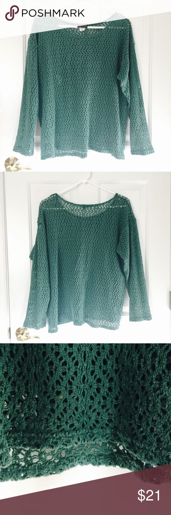 Teal Sweater🐢🌀 The design is knit beautifully and is great for any season! Summer- pairs well with bandeau and high waisted shorts. Winter- pairs well with turtleneck. Fall-crop top underneath and a wide brim hat. Creative your own outfit and standout in this unique top💎🌿🍃 Sweaters Crew & Scoop Necks
