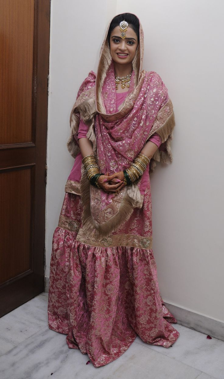 Pink kamkhwab Gharara