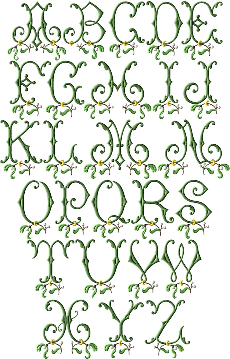Mistletoe Machine Embroidery Font