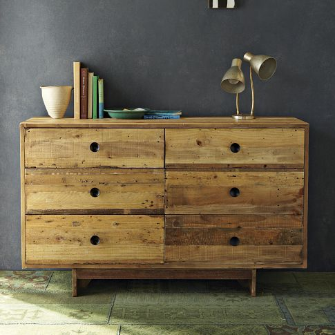 Bedroom inspiration: Emmerson 6 Drawer Dresser | west elm   If I stripped our dresser (remove bottom molding and feet, trimmed excess off the top, changed handles and weathered the finish, our dresser could look like this--just have to make a base of salvaged wood).