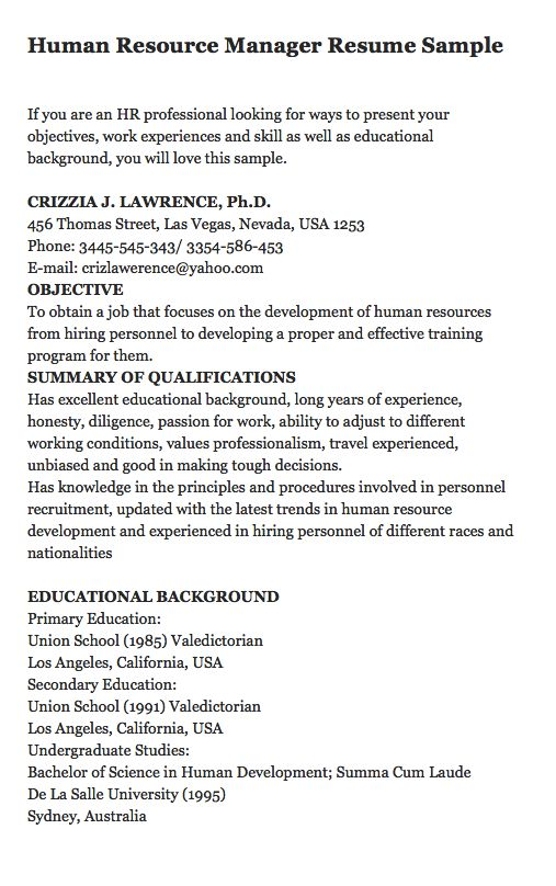 if you are an hr professional looking for ways to present your objectives work experiences - Educational Background Resume Sample