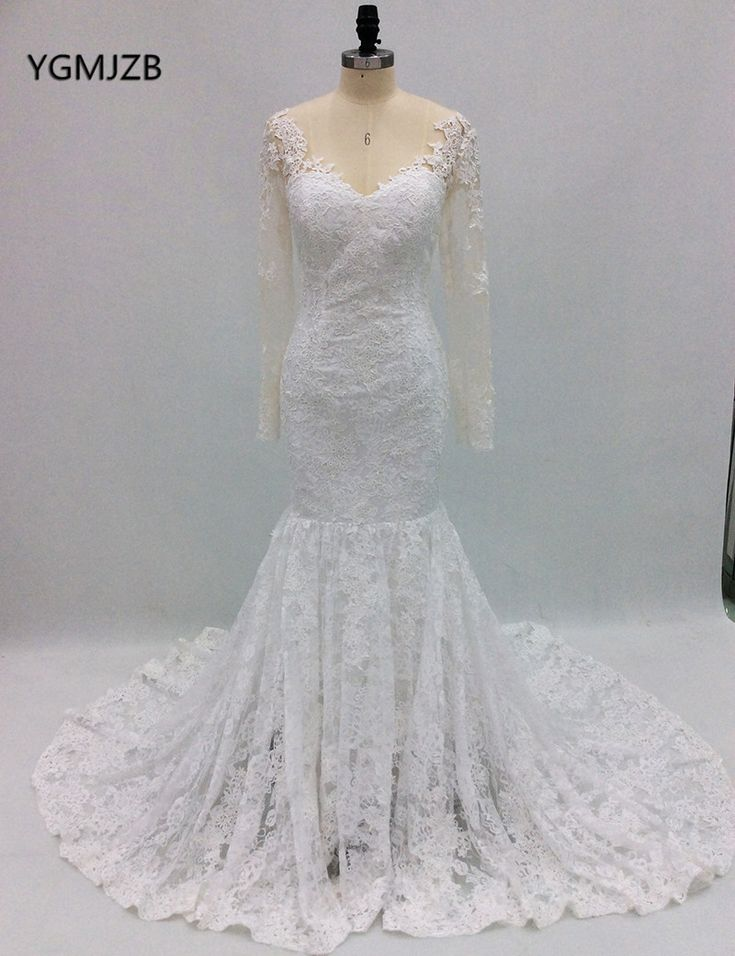 Find More Wedding Dresses Information about Romantic Vintage Lace Wedding Dress Plus Size 2018 Mermaid Full Sleeves Illusion Back Bridal Gown Trouwjurk Vestido De Noiva ,High Quality vestido de noiva,China vestido de noiva plus Suppliers, Cheap de noiva from Shop1404230 Store on Aliexpress.com