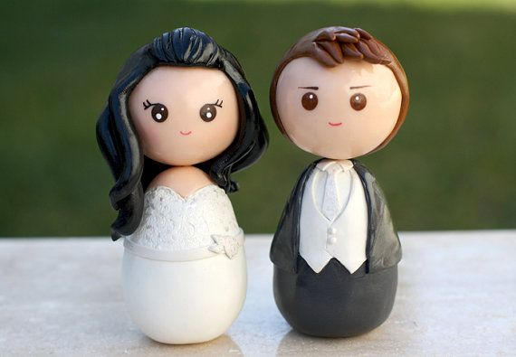Personalized custom wedding cake topper kokeshi by Chikipita, $70.00