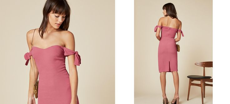 Your shoulders are a present. This is a slim fitting, off-the-shoulder dress with sleeve ties.