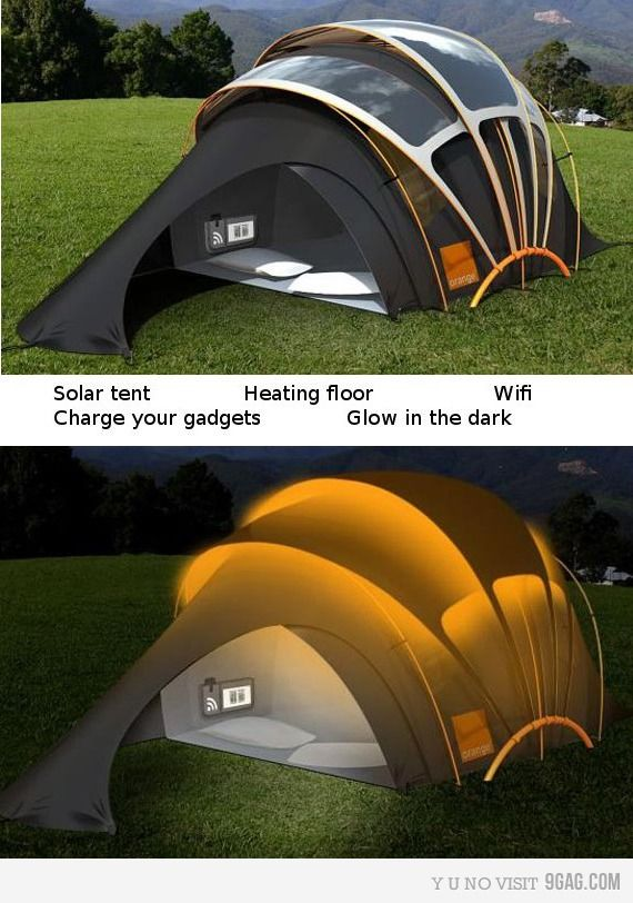 solar tent, with heated floor, Wifi, glows in the dark (I'm not sure why it glows in the dark but might be convenient if you are party camping, I guess ... I wonder if there is a way to turn it off). This is my kinda camping!