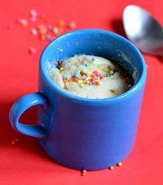 One Minute Vanilla Mug Cake - No egg,No butter-Comes out super soft and spongy !